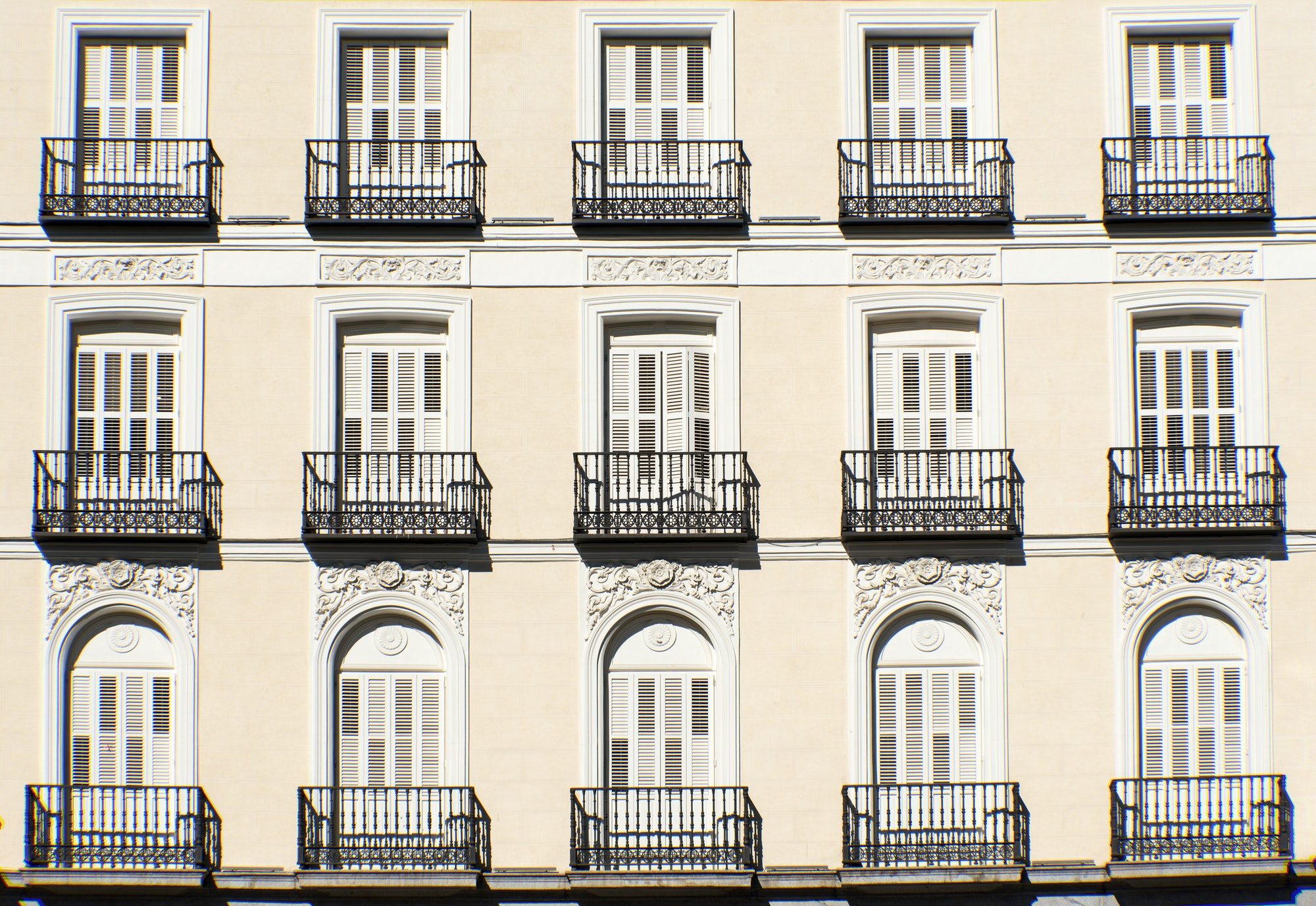 Facade with balconies in Madrid